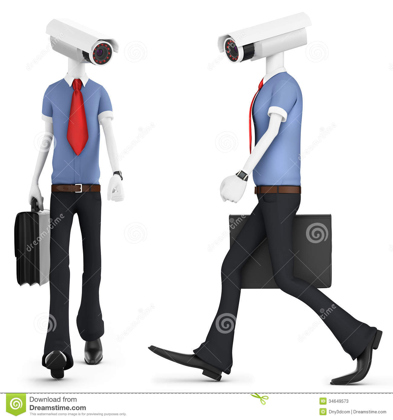 3d Man Security Camera Surveillance Stock Photos - Image: 34649573