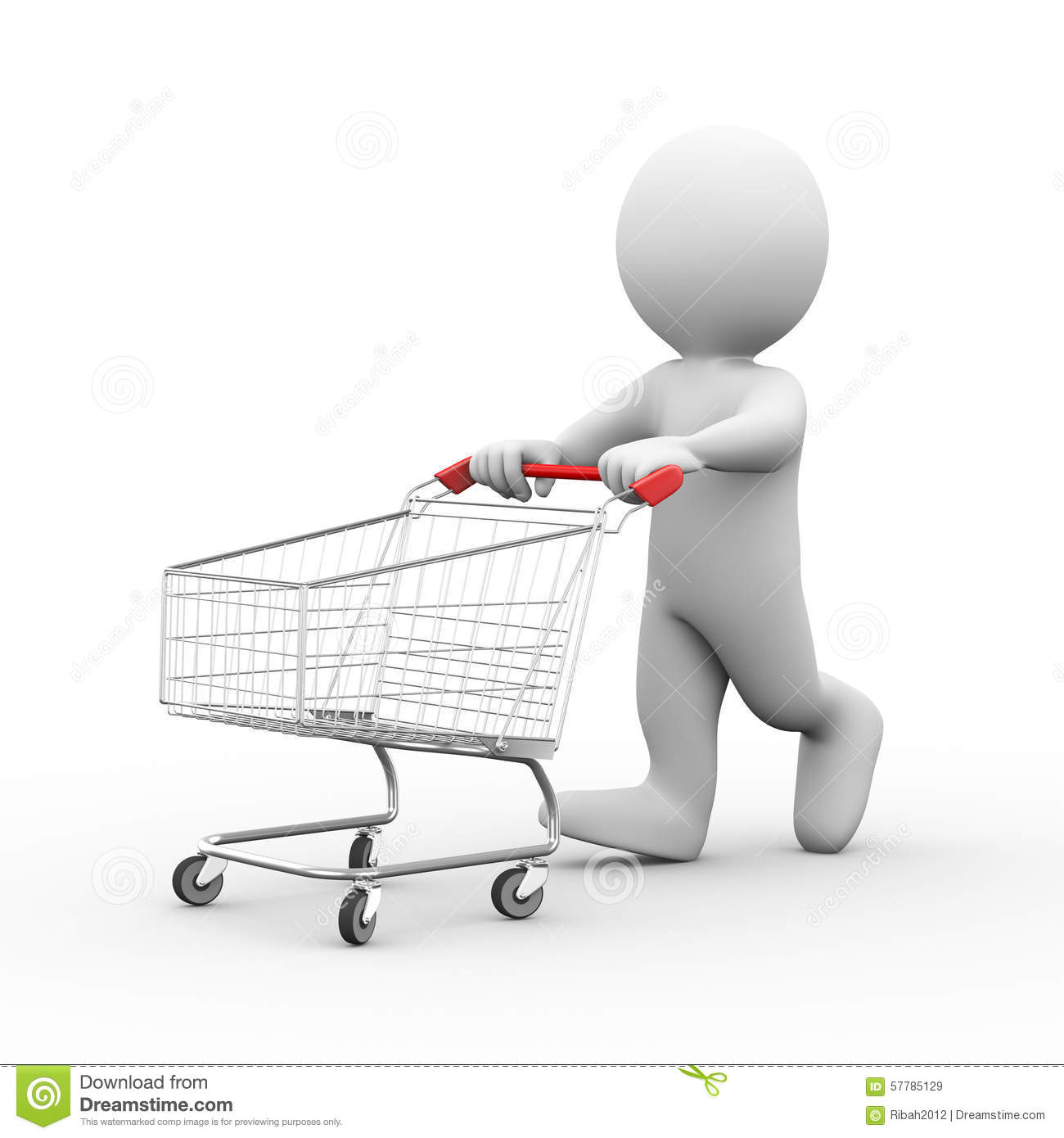 3d man with shopping cart trolley stock illustration illustration