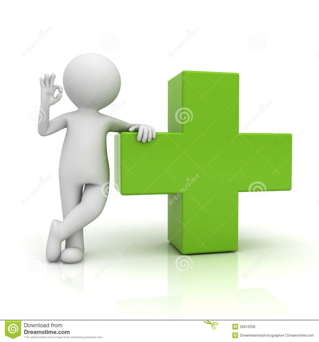3d man showing okay gesture with green plus sign over