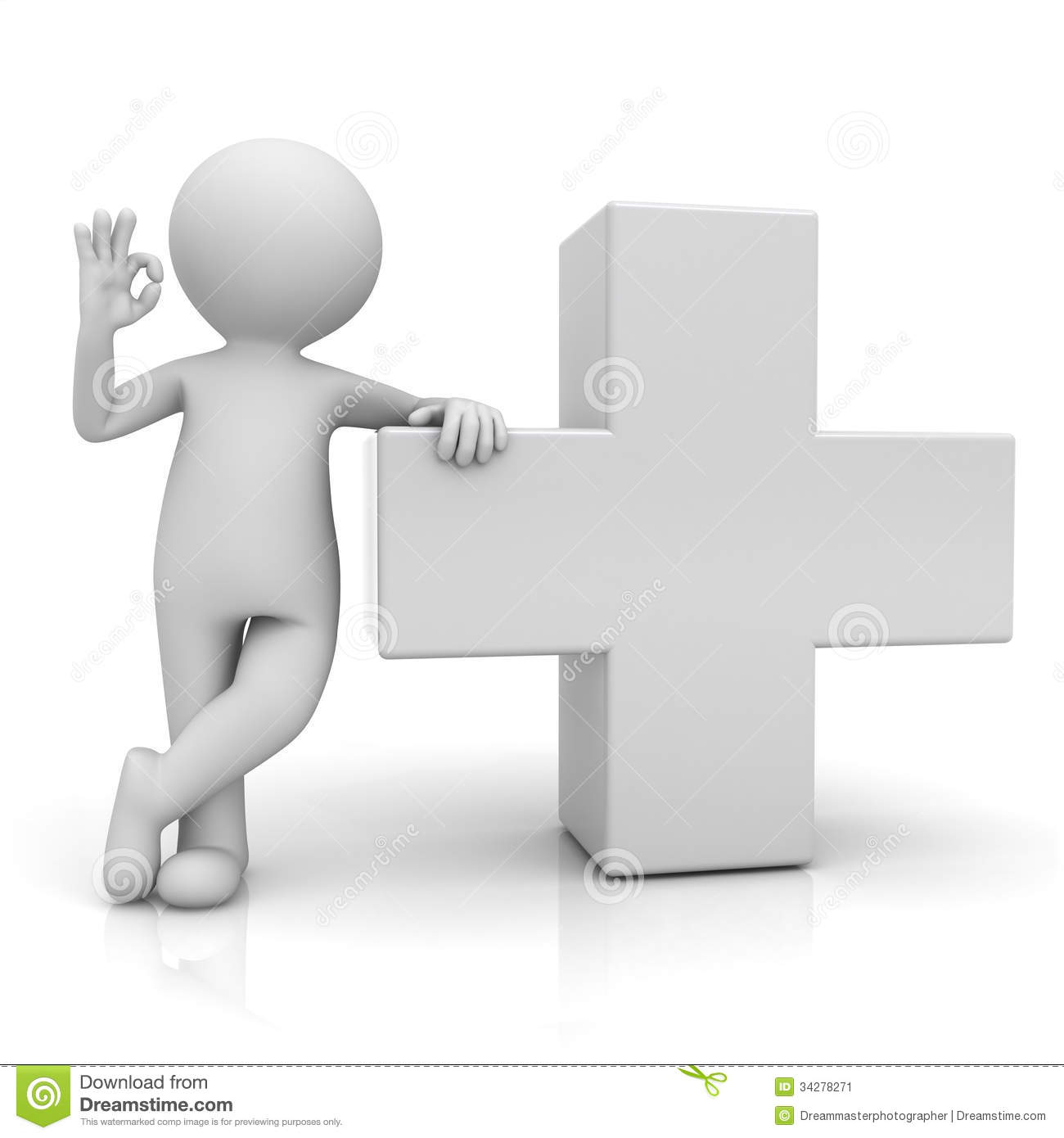 3d man showing okay gesture with white plus sign over