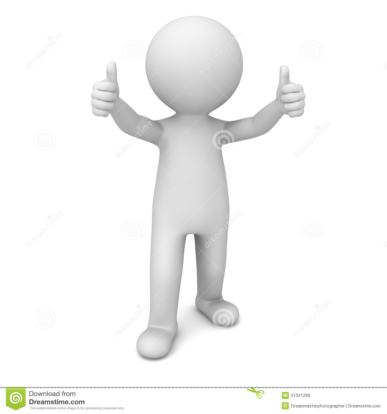 3d man showing thumbs up over white