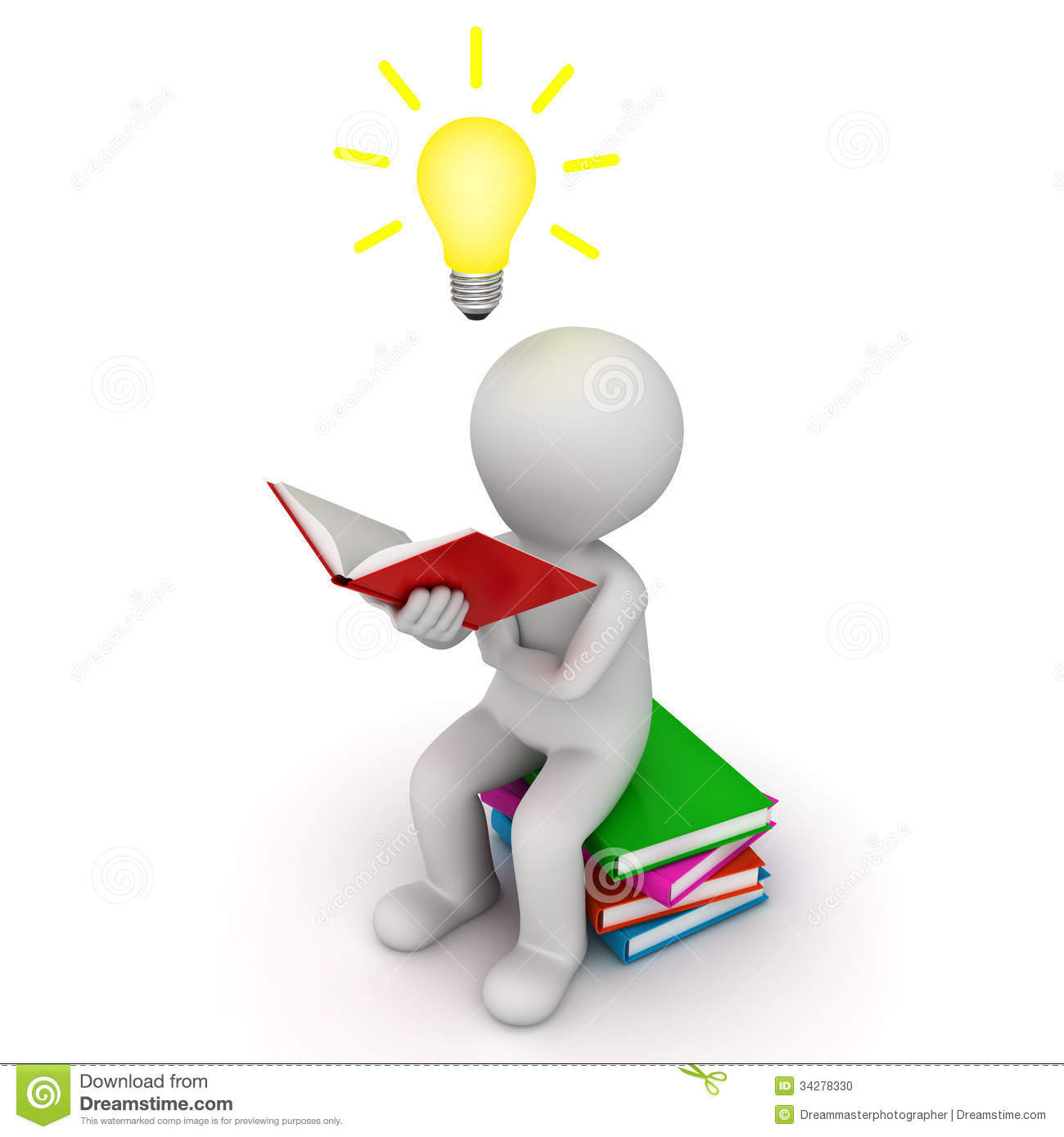 3d Man Sitting And Reading Book With Idea Bulb Over White