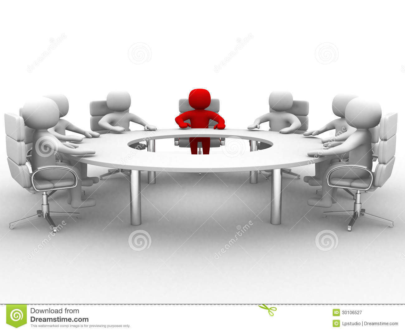 3d man sitting at a round table and having business for Meeting table design 3d