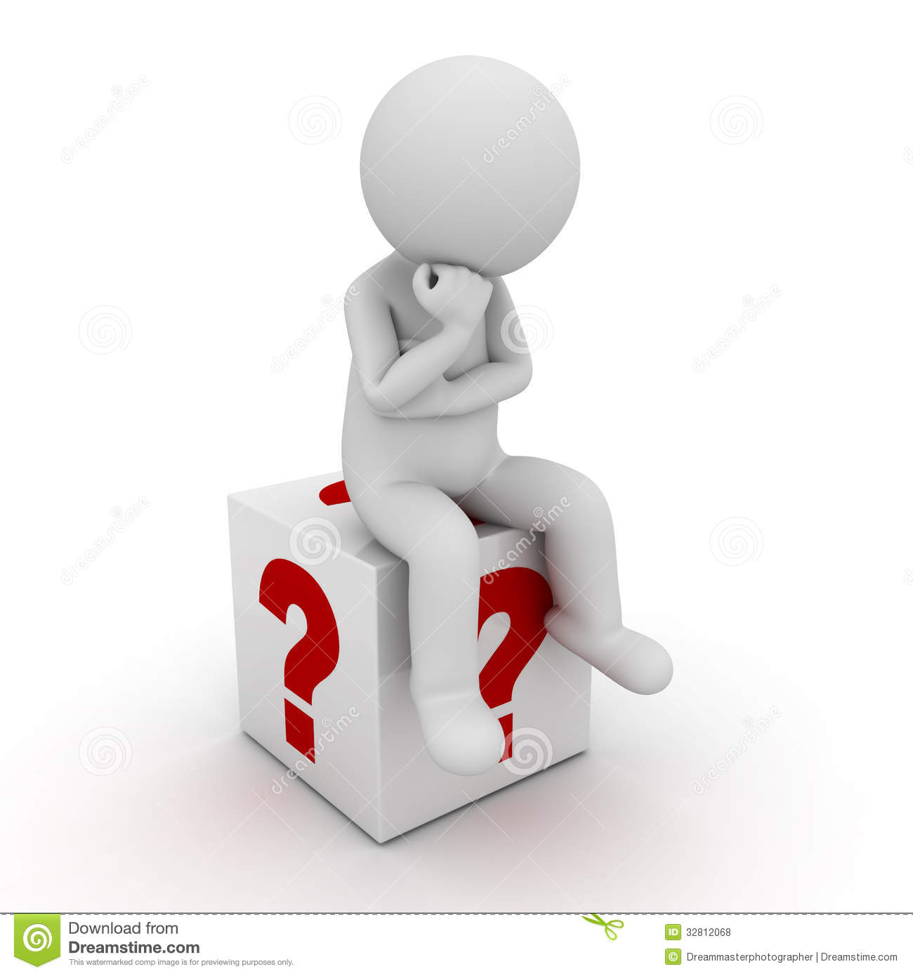 3d man sitting in wooden question mark box over white background
