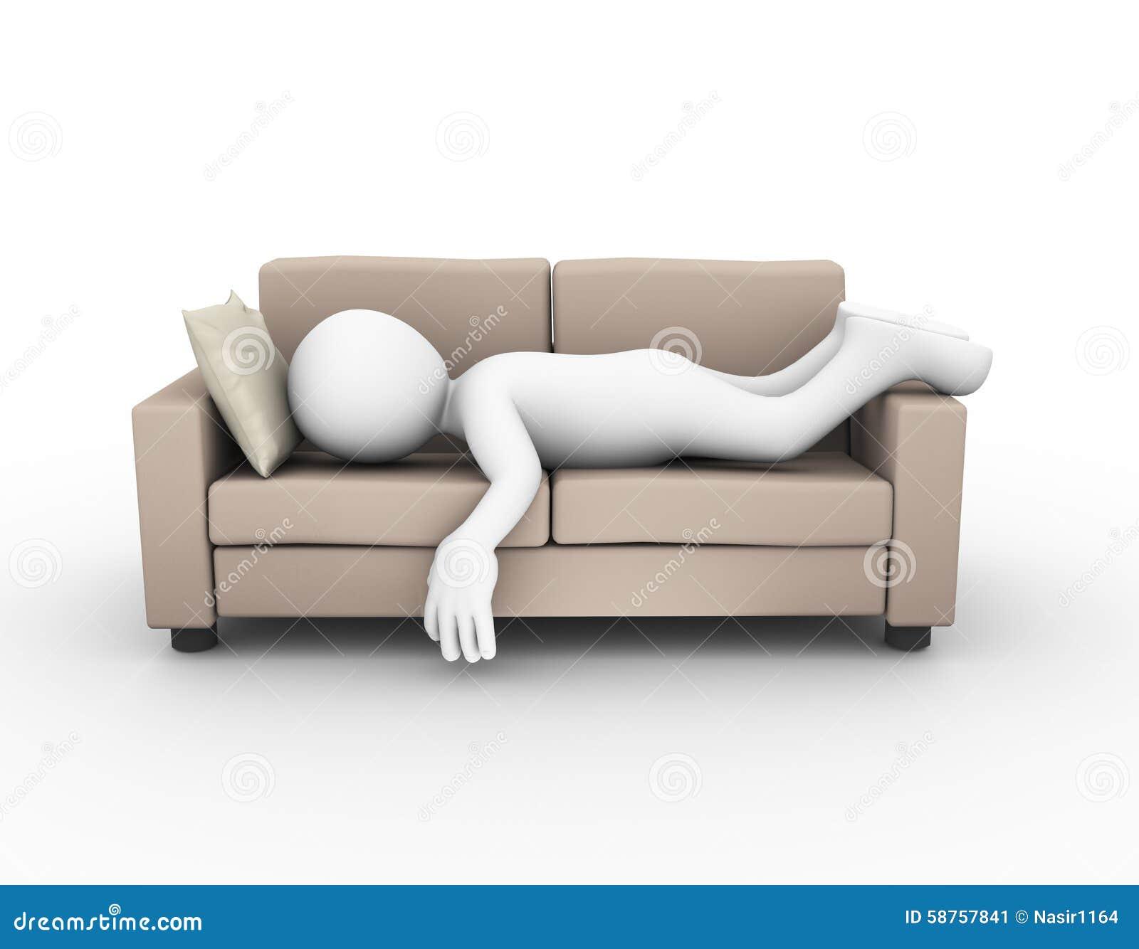 Interior Furnishing 3d Man Sleeping On Sofa Couch Stock Illustration Image