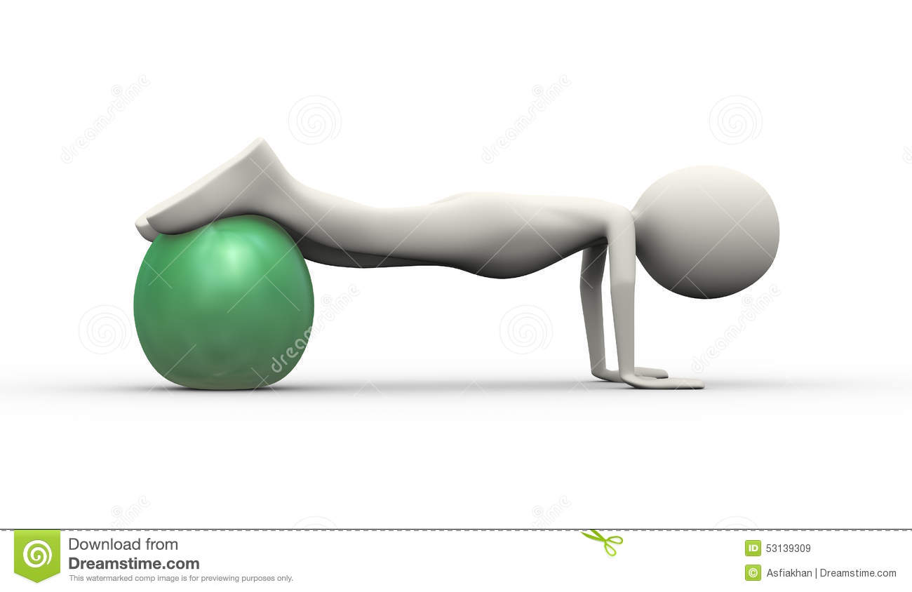 3d Man Stability Ball Fitness Practice Stock Illustration