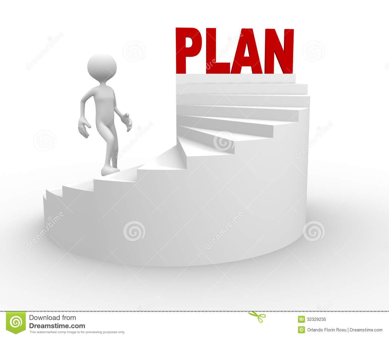 3d Man With Stair And Word Plan Royalty Free Stock Photo