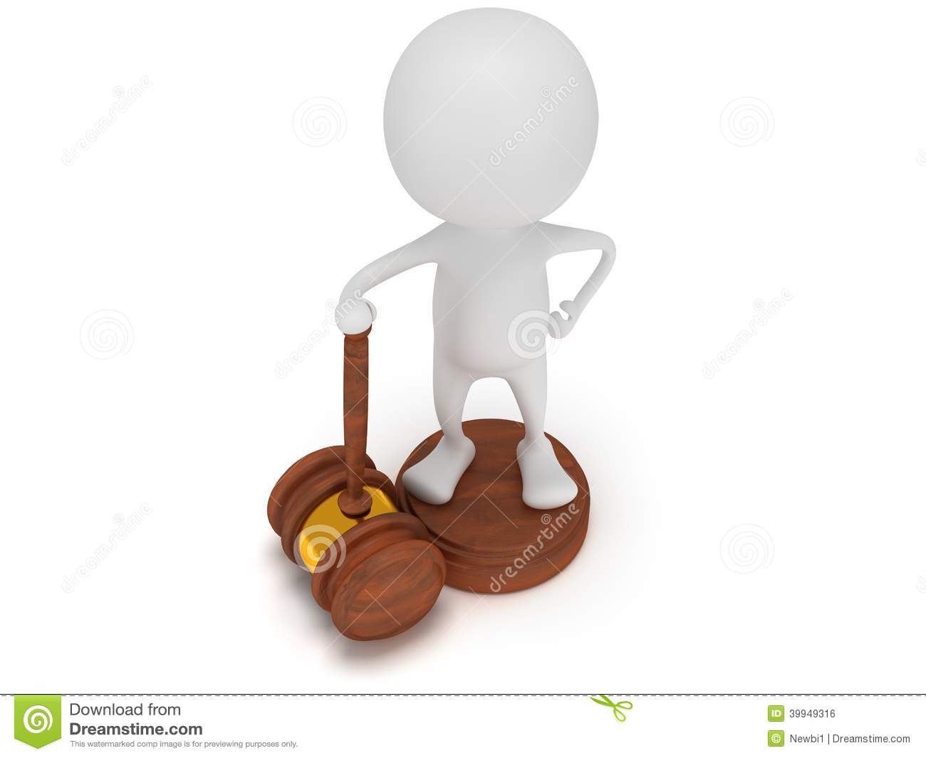3d Man Stand With Wooden Gavel  Stock Illustration