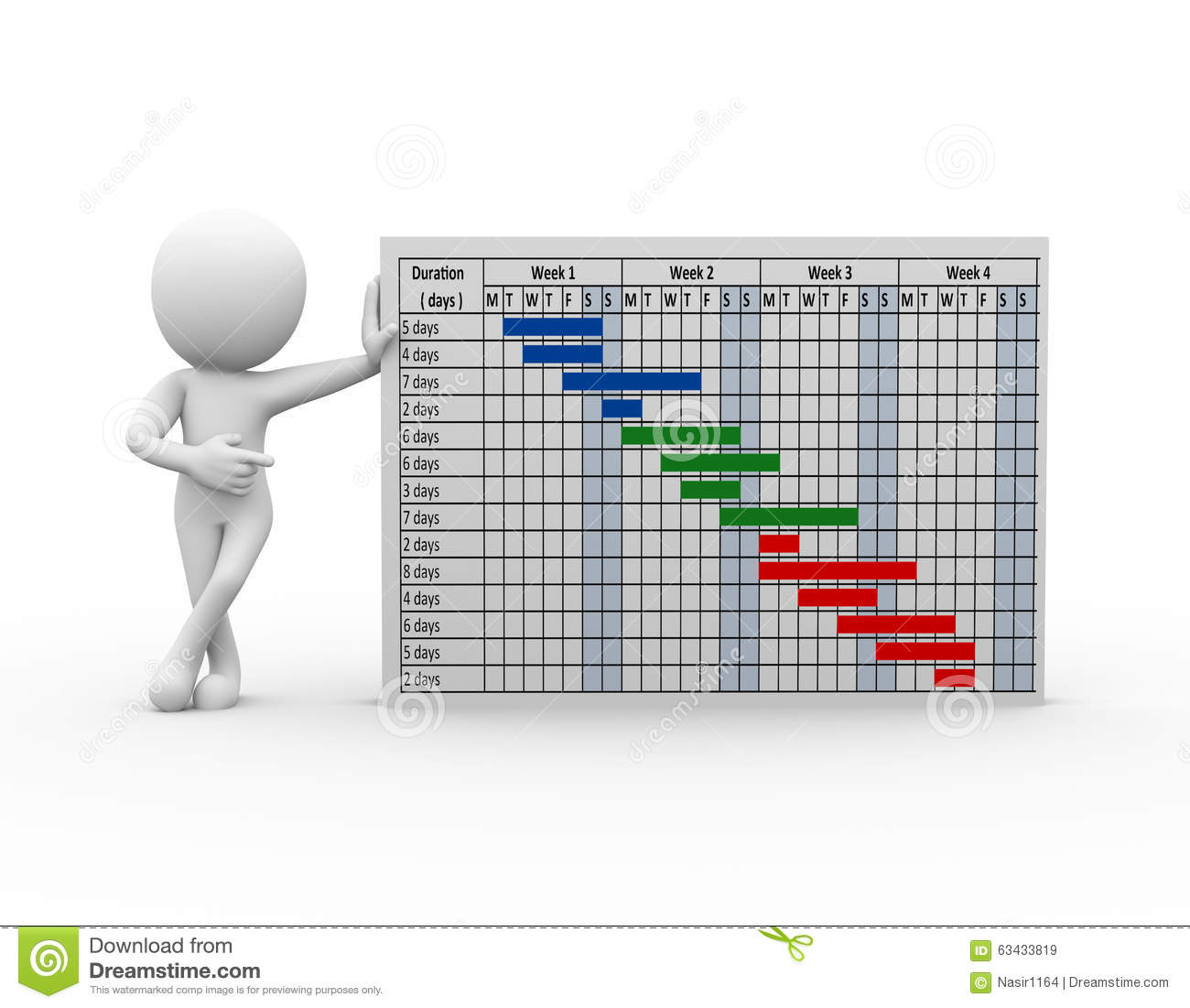 3d man standing with gantt chart stock illustration 3d planner