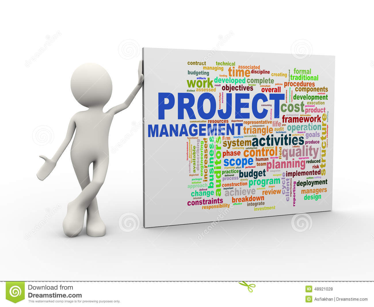 Design Blueprints 3d Man Standing With Project Management Wordcloud Word