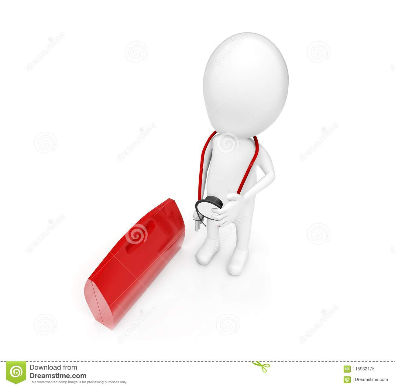 3d man with stethoscope standing near to red briefcase concept