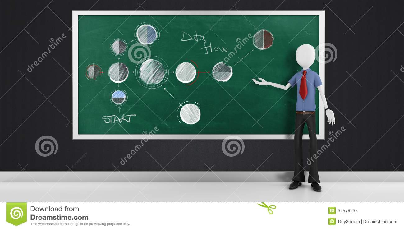 3d man with strategy flow chart diagram