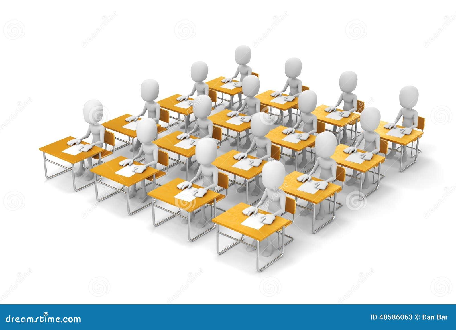 3d Man Students In Classroom Stock Illustration