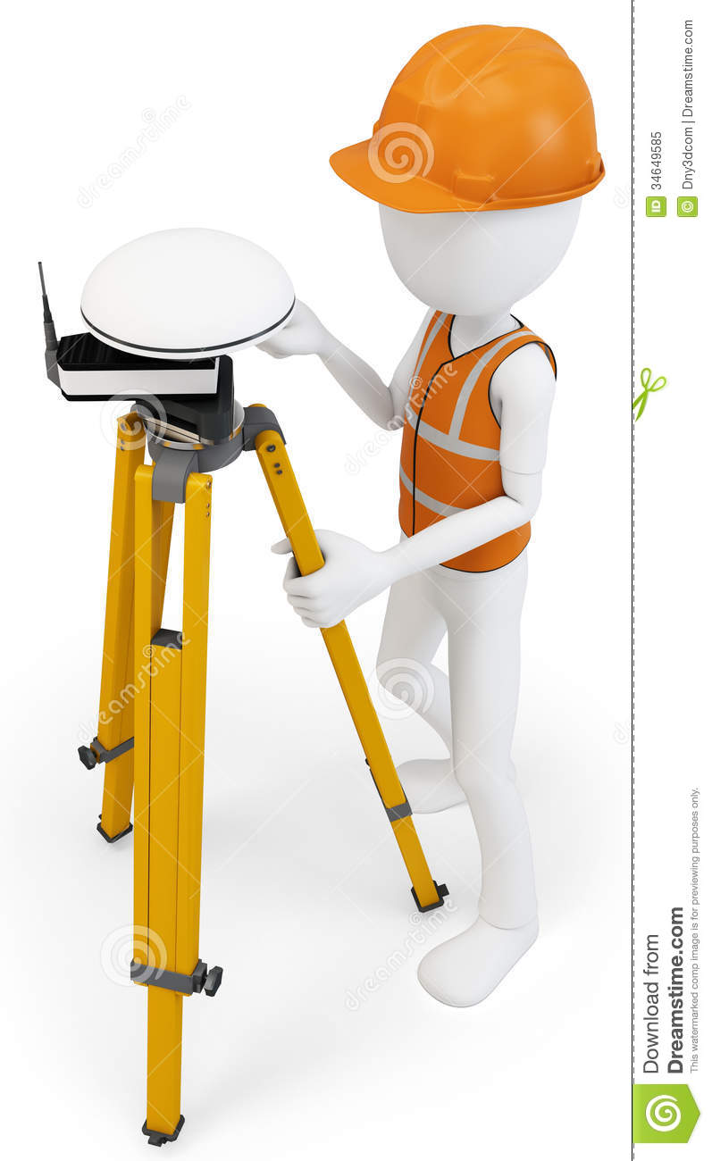 3d Man Surveyor With Gps Station Royalty Free Stock Photo