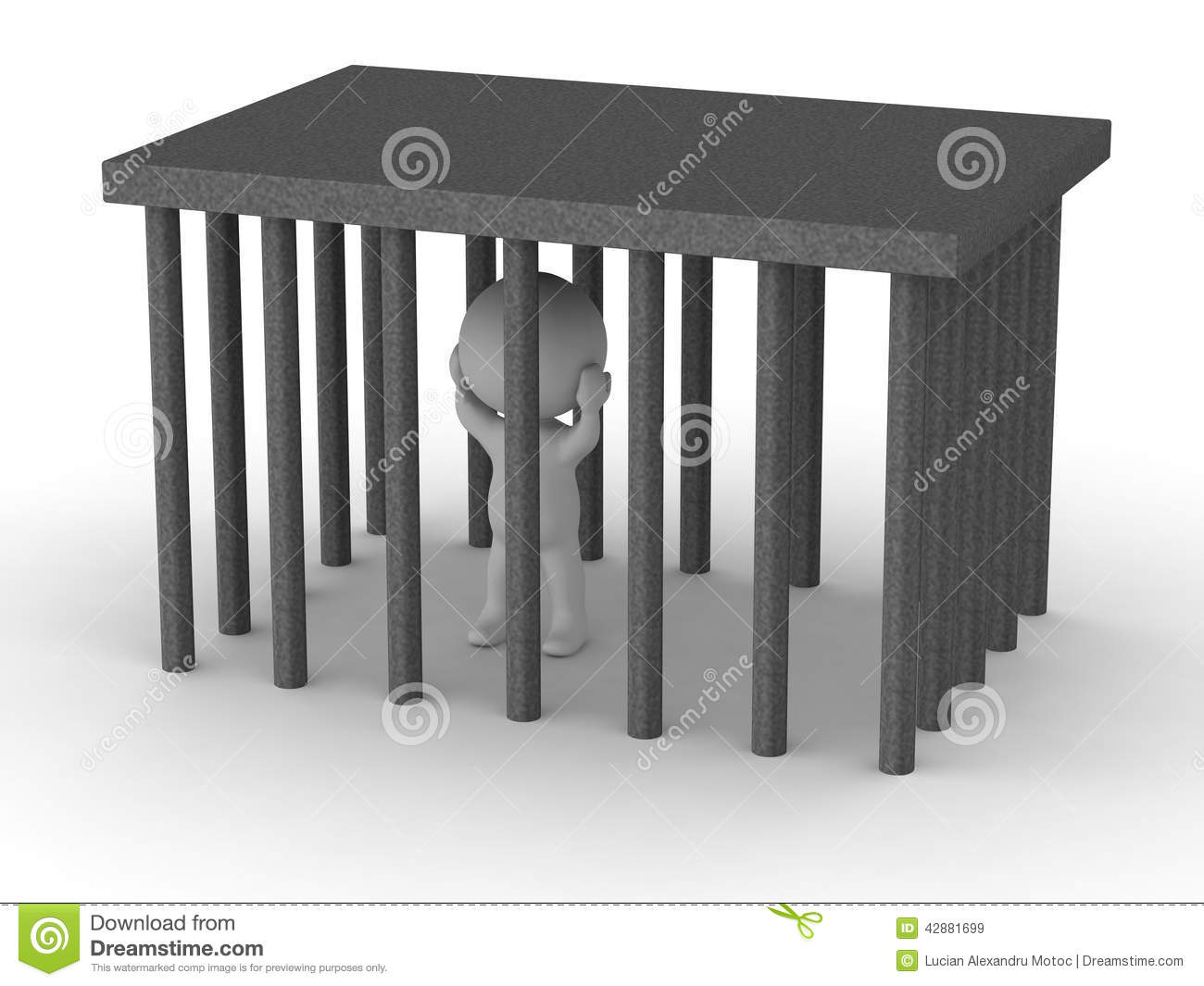 3d man trapped in cage stock illustration image of generated 42881699 - Kooi trap ...