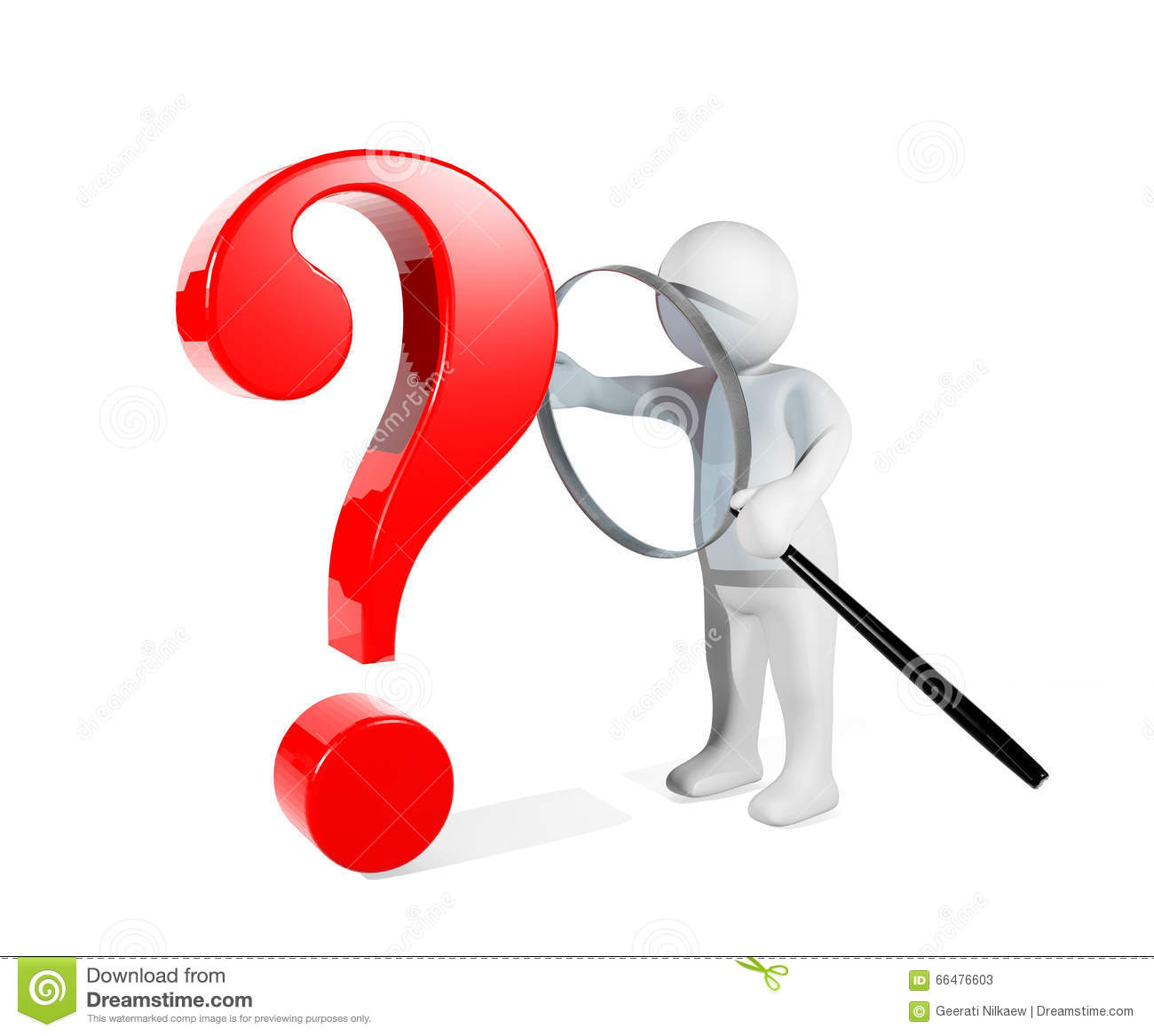 3d person with magnifying glass and question mark stock images image - Glass Magnifying Man Mark Problem Question