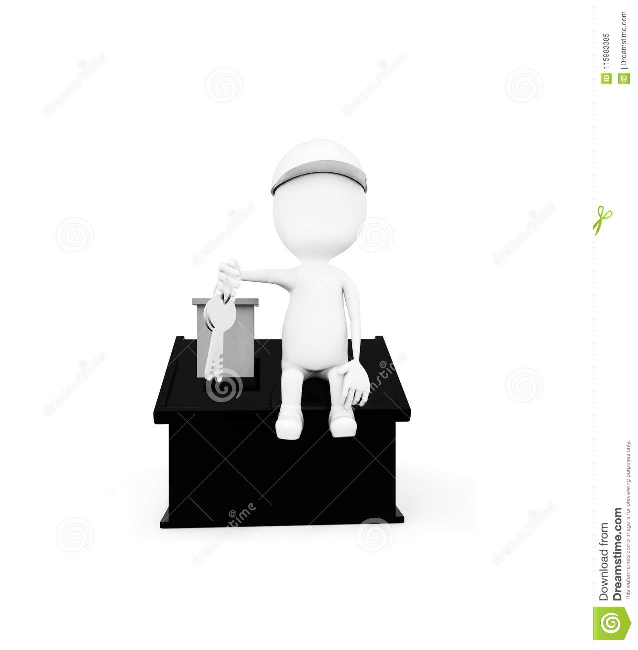 3d man wearing construction helmet and holding keys in hand while sitting on top of a miniature house concept