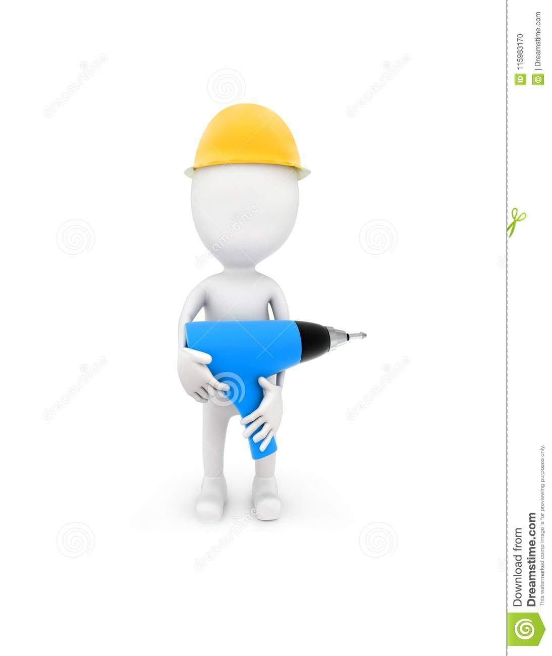 3d man wearing safety cap and holding a electric driller in his