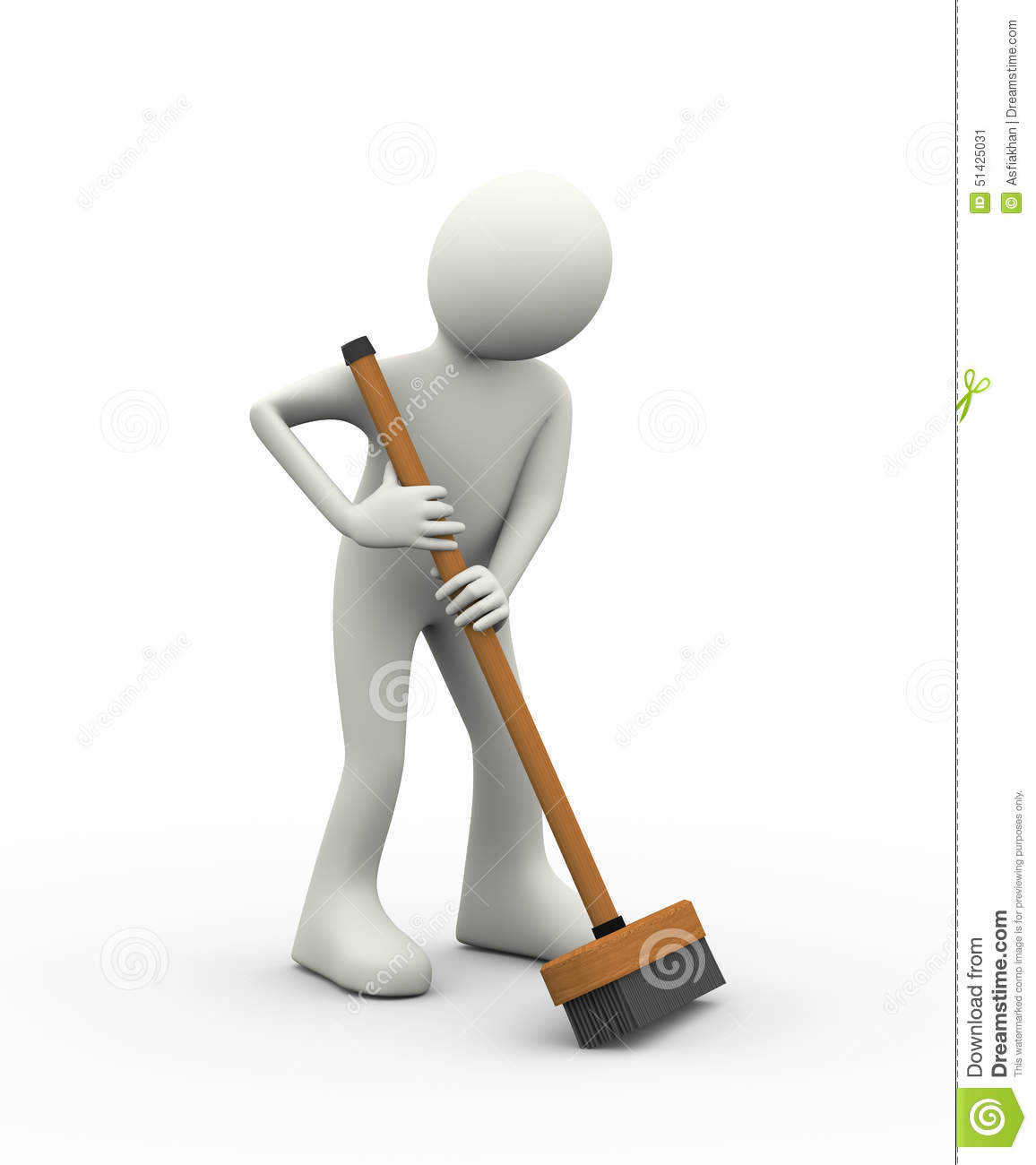 Design A Floor Plan For Free 3d Man Working With Broom Deck Stick Brush Stock