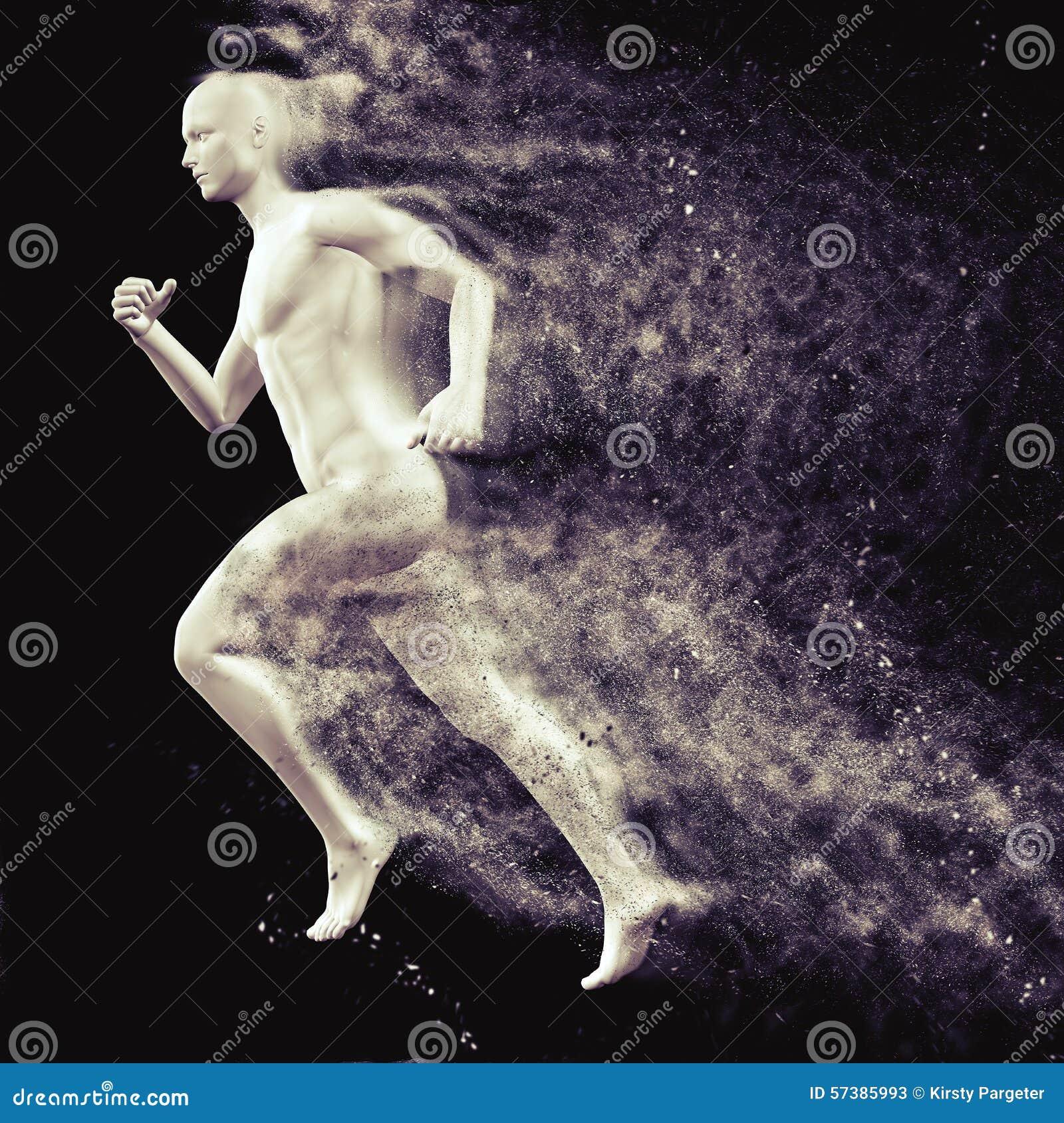 3D mannelijk cijfer die met snelheids speciaal effect lopen