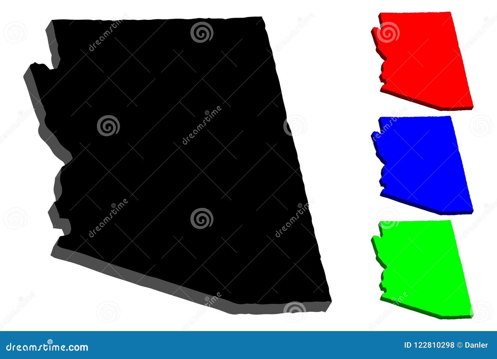 3d Map Of Arizona.3d Map Of Arizona Stock Vector Illustration Of Patriotism 122810298