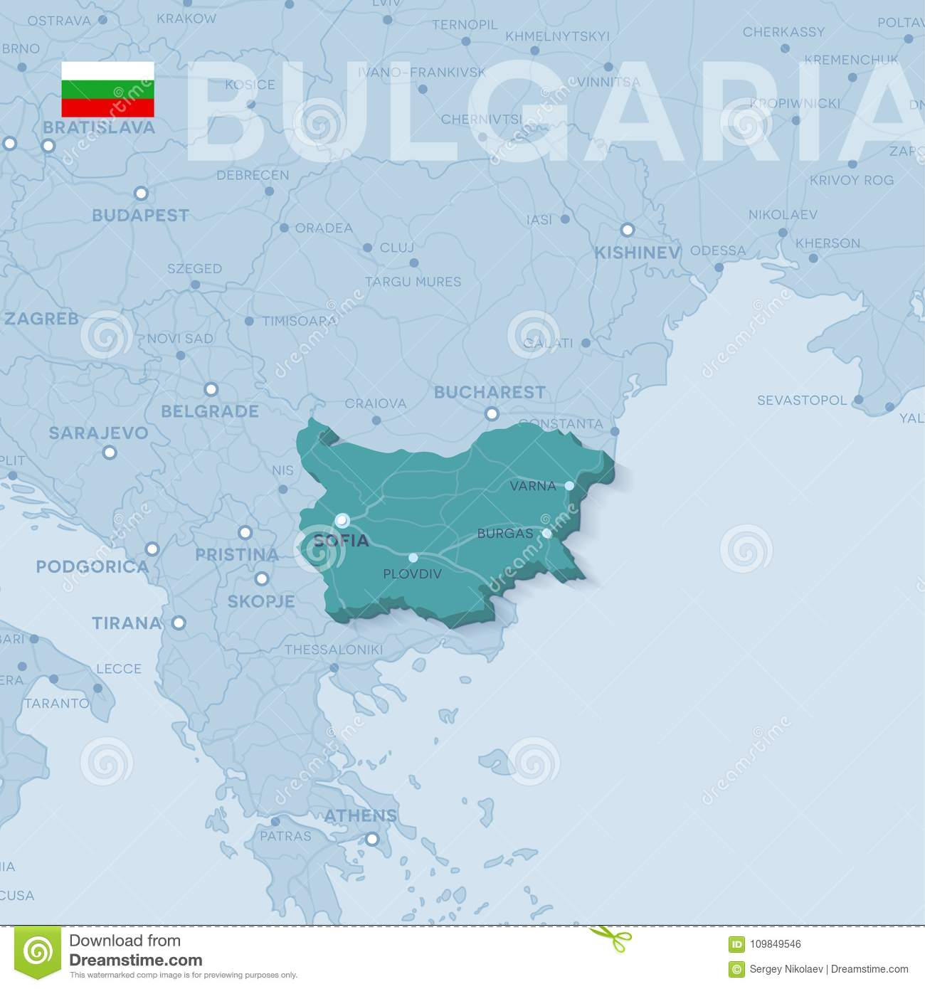 Map Of Cities And Roads In Bulgaria. Stock Vector ...