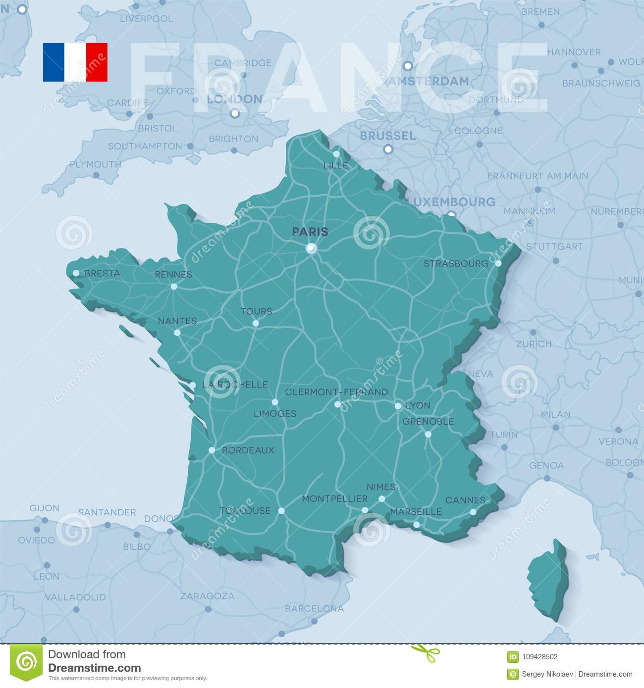 Map Of France Roads.Map Of Cities And Roads In France Stock Vector Illustration Of