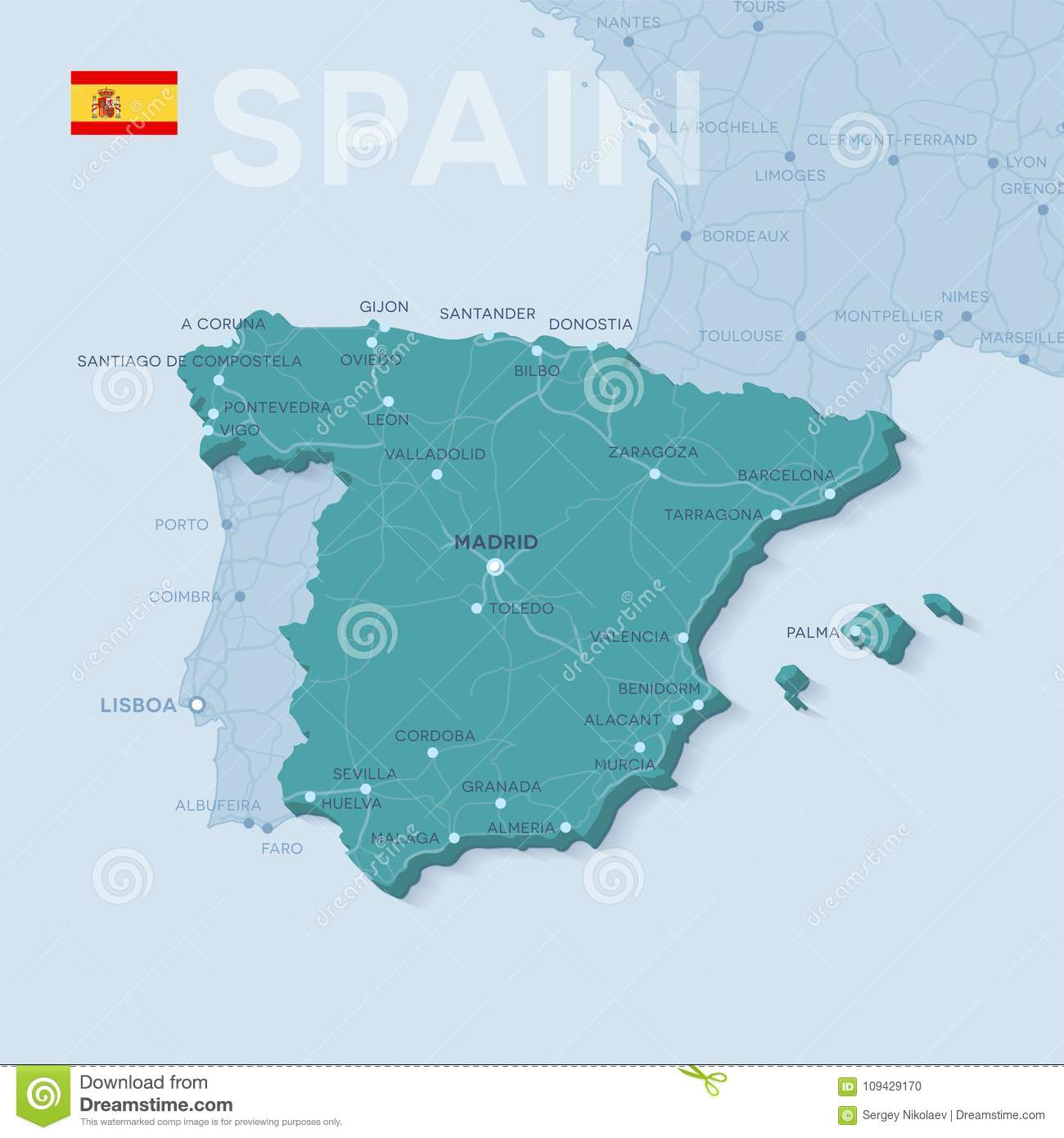 Map Of Cities And Roads In Spain. Stock Vector ...