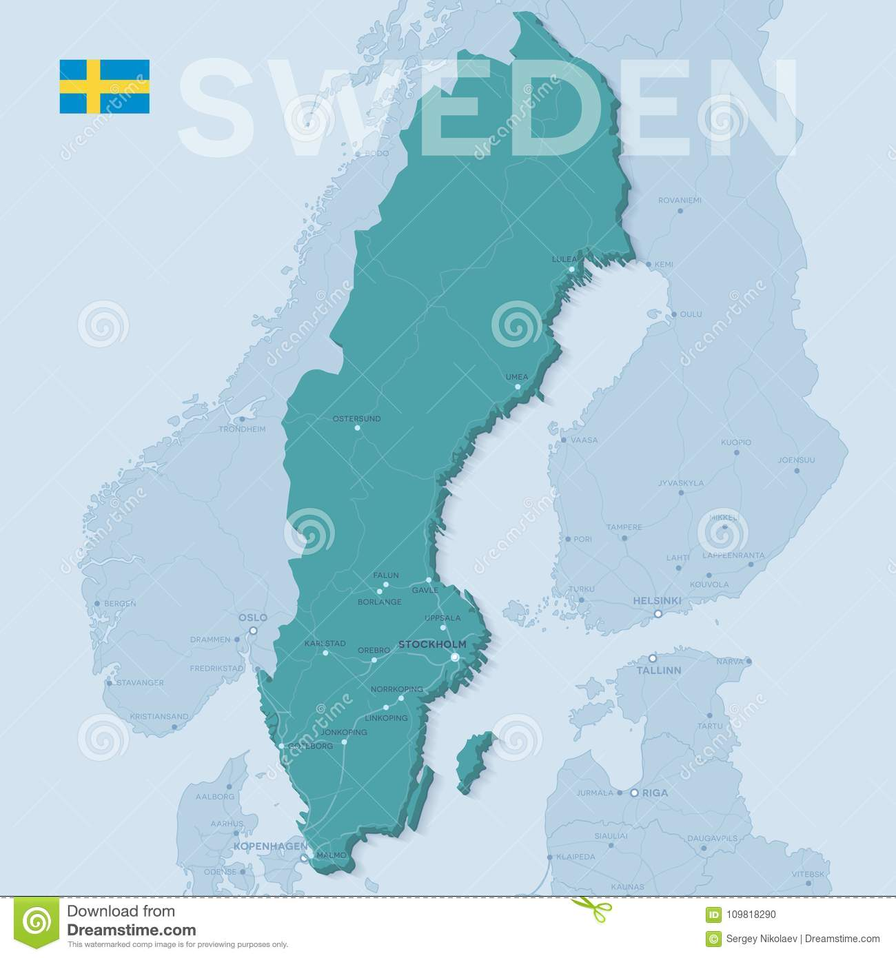 Europe Political Map With Cities.Map Of Cities And Roads In Sweden Stock Vector Illustration Of