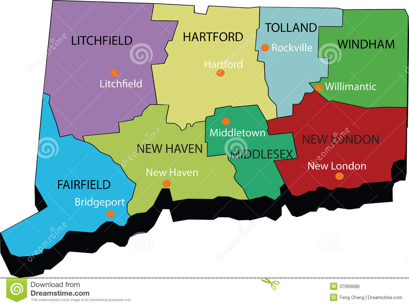 D Map Of Connecticut State Stock Photo Image - Connecticut state map