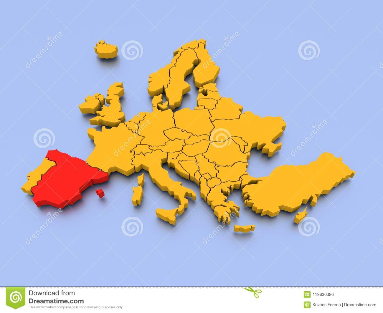 Country Of Spain Map.3d Map Of Europe Stock Illustration Illustration Of Graphical