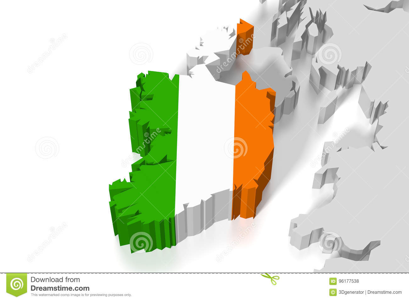 Map Of Ireland 3d.3d Map Flag Ireland Stock Illustration Illustration Of National