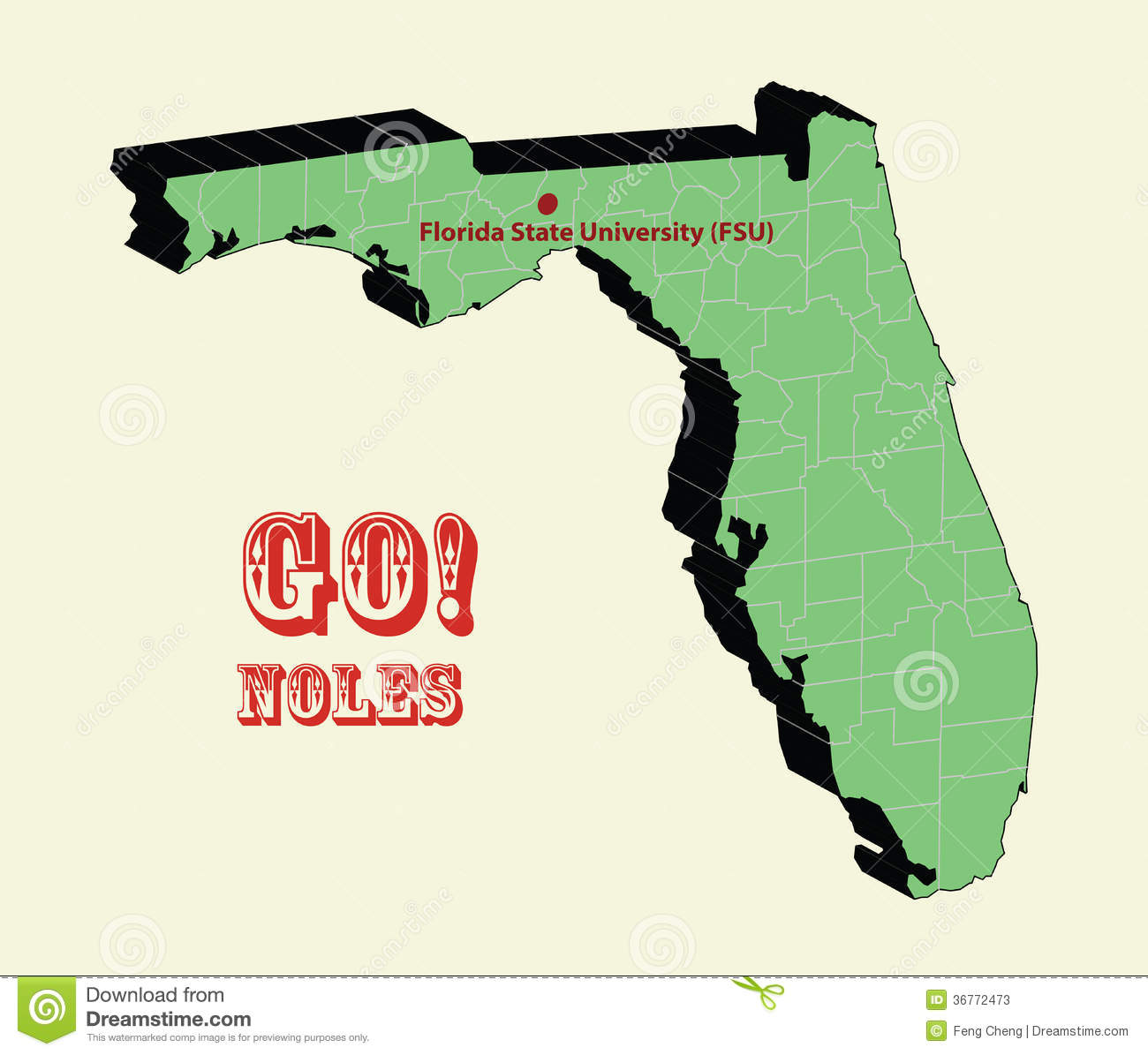 3d Map Of Florida State University Fsu Go Noles Stock Vector