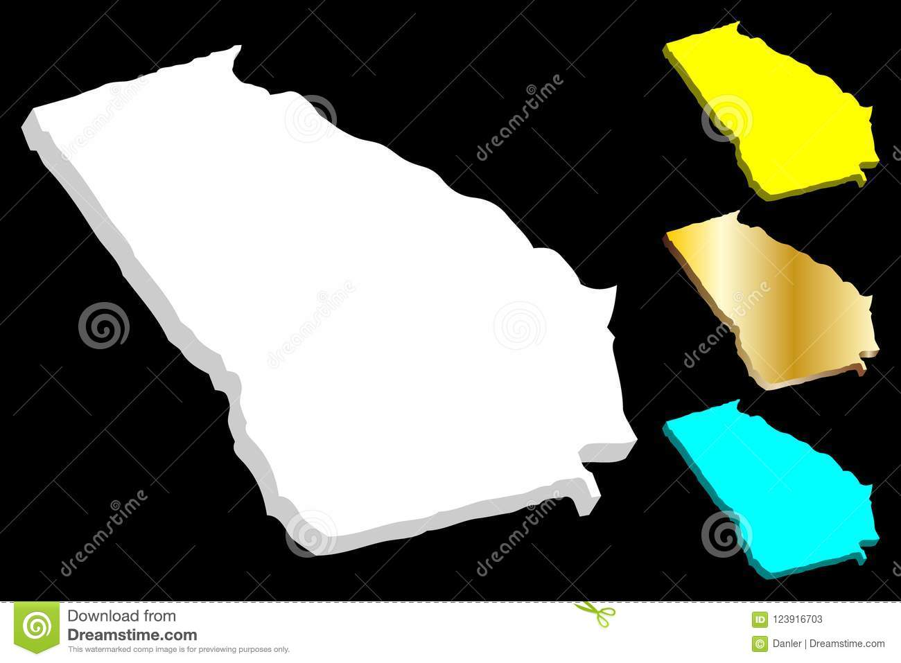 State Map Of Georgia Usa.3d Map Of Georgia U S State Stock Vector Illustration Of Boundary