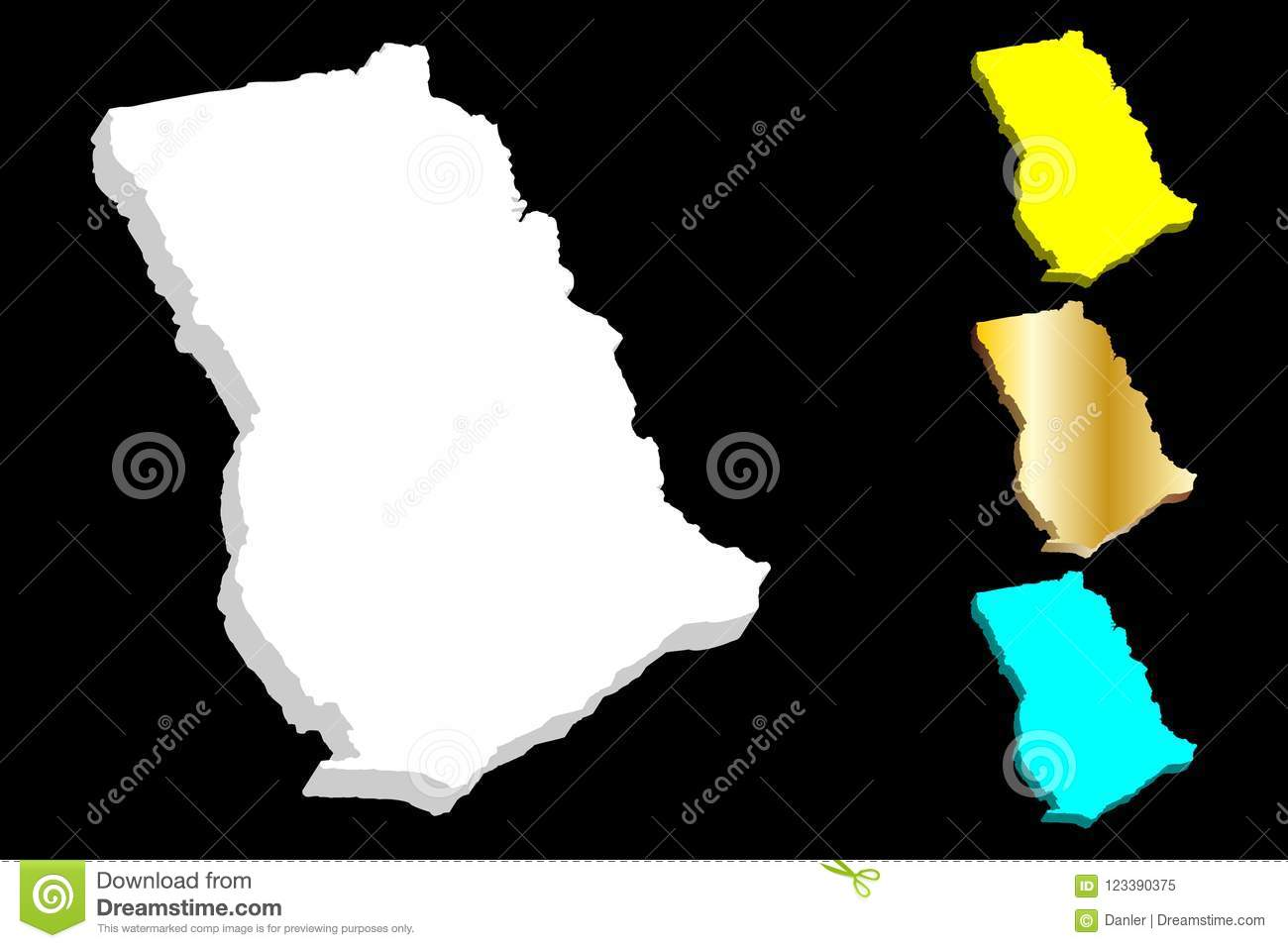 3D map of Ghana stock vector. Illustration of icon, earth ...