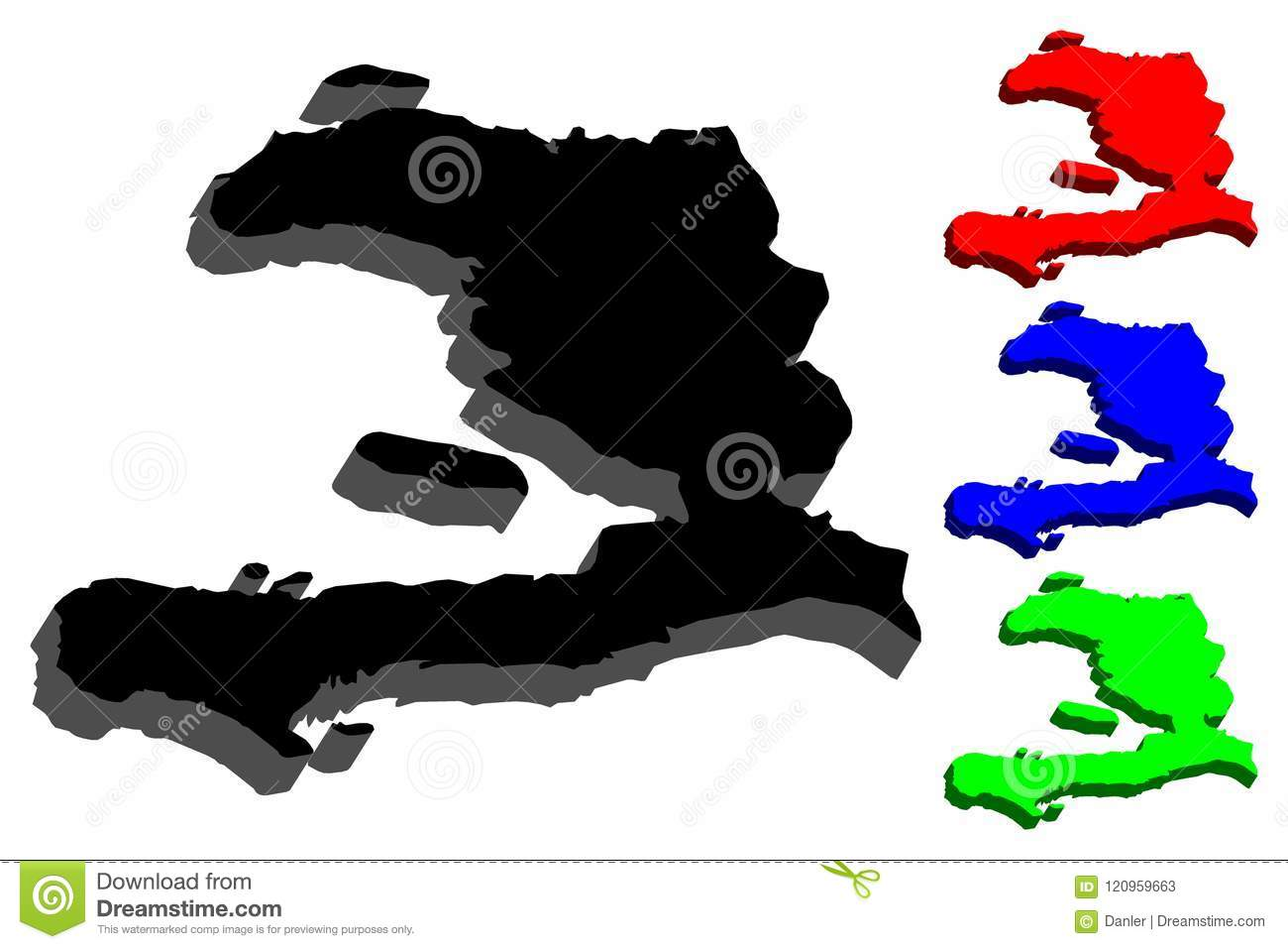 3d Map Of Haiti Stock Vector Illustration Of Icon Frontier 120959663