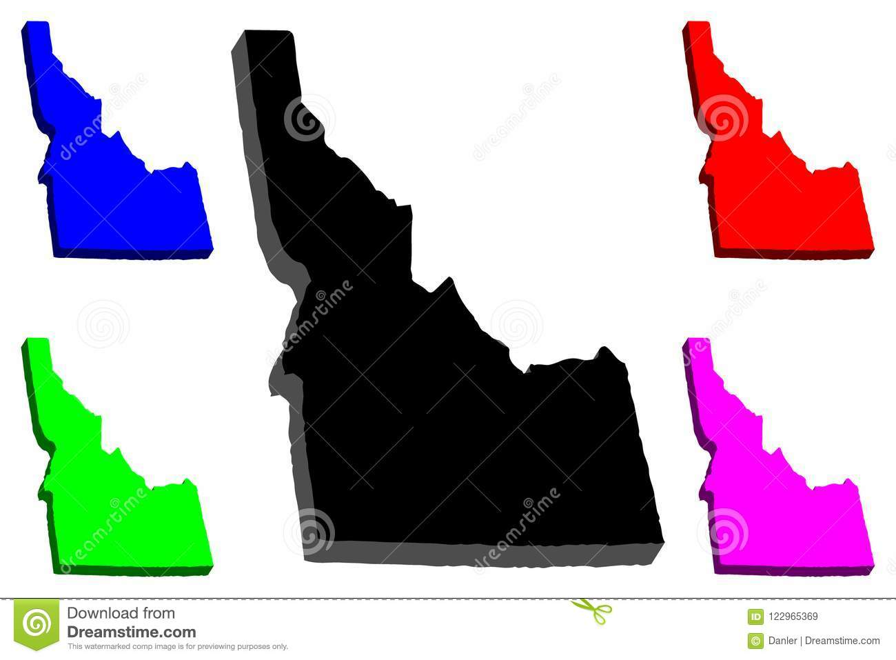 Purple State Map.3d Map Of Idaho Stock Vector Illustration Of Isometric 122965369