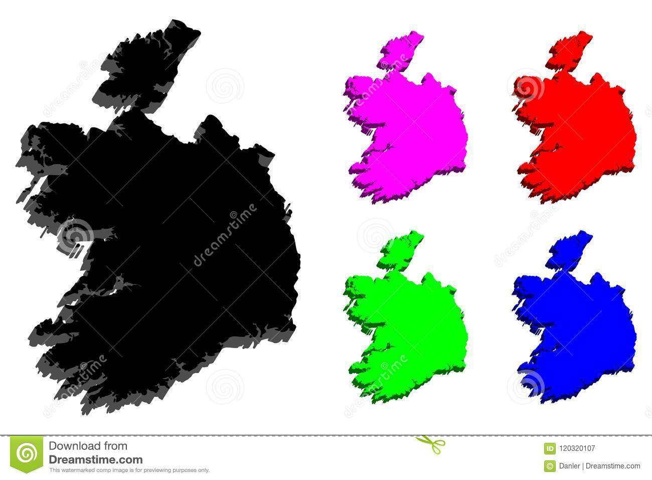 Map Of Ireland Vector.3d Map Of Ireland Stock Vector Illustration Of Patriotic 120320107