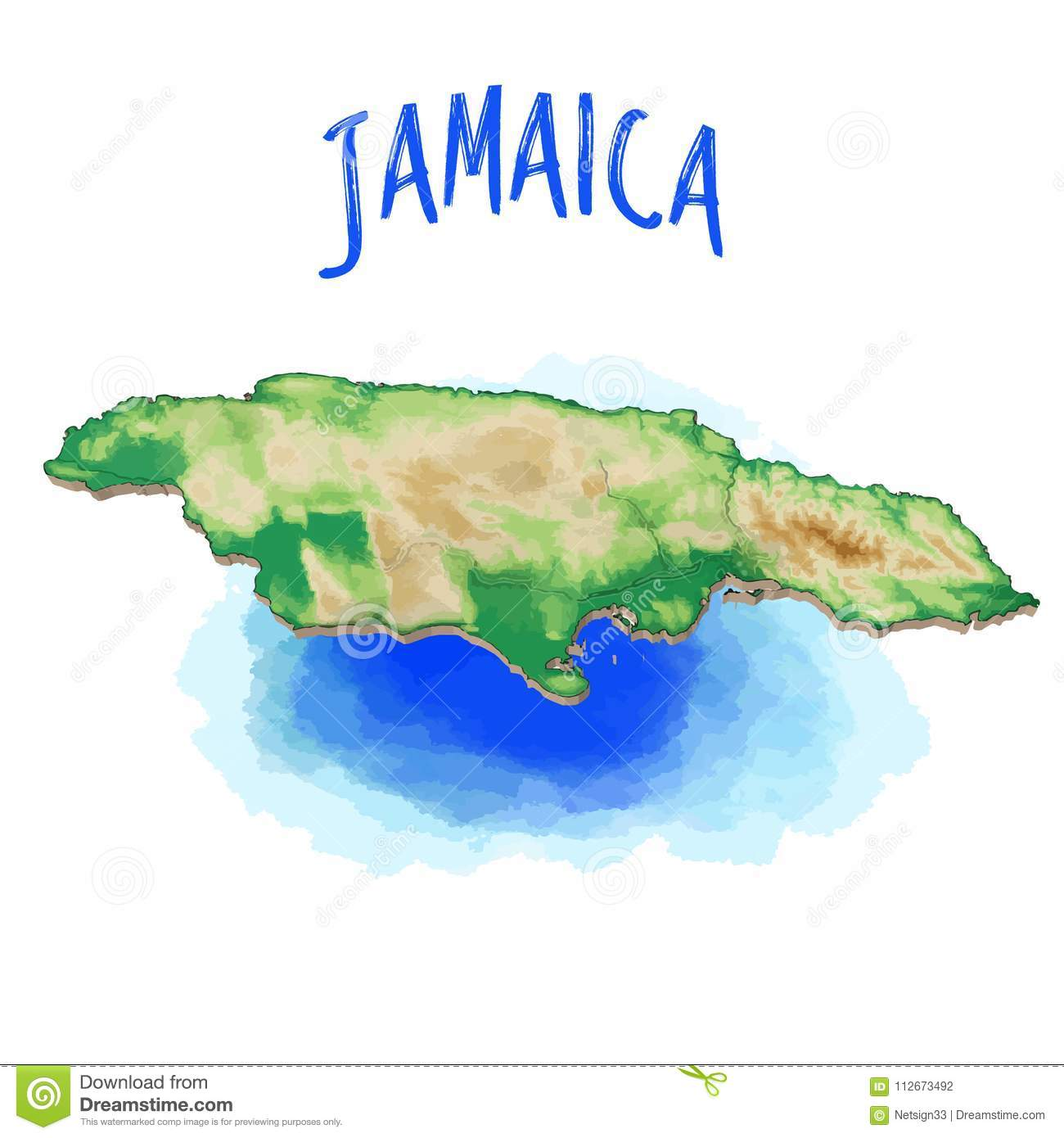 3D Map of Jamaica stock vector. Illustration of geography - 112673492