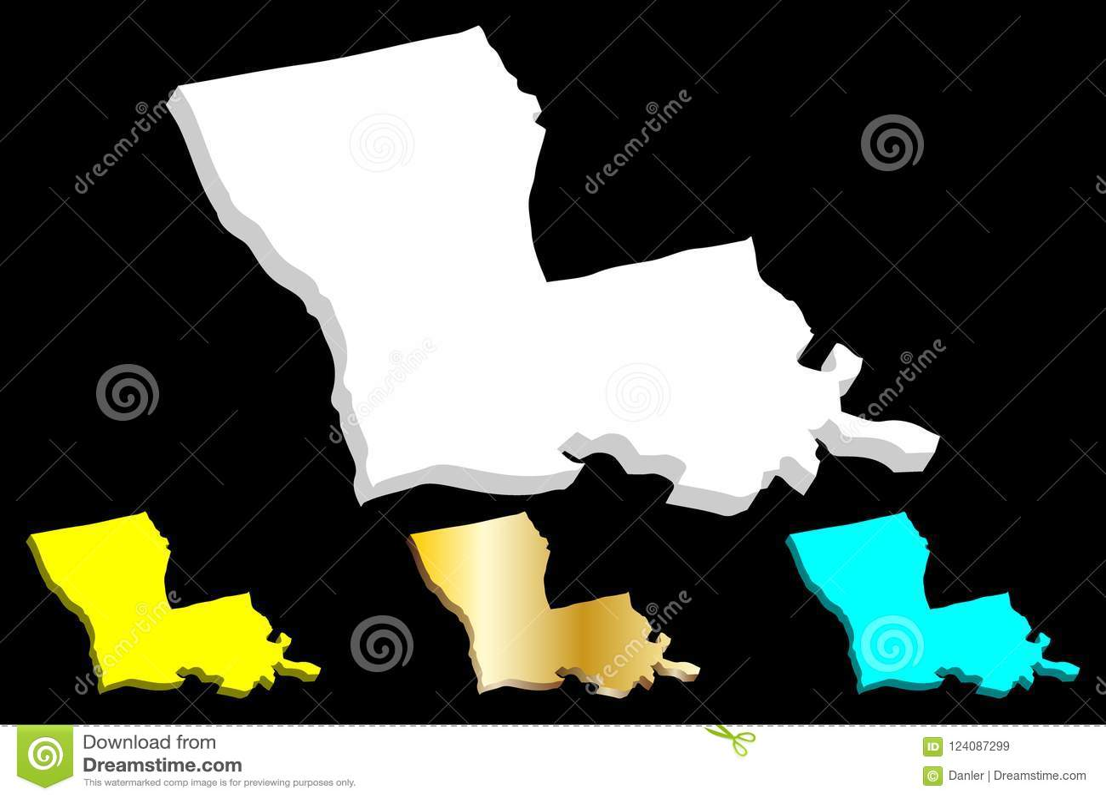 United States Map Louisiana.3d Map Of Louisiana Stock Vector Illustration Of Logo 124087299