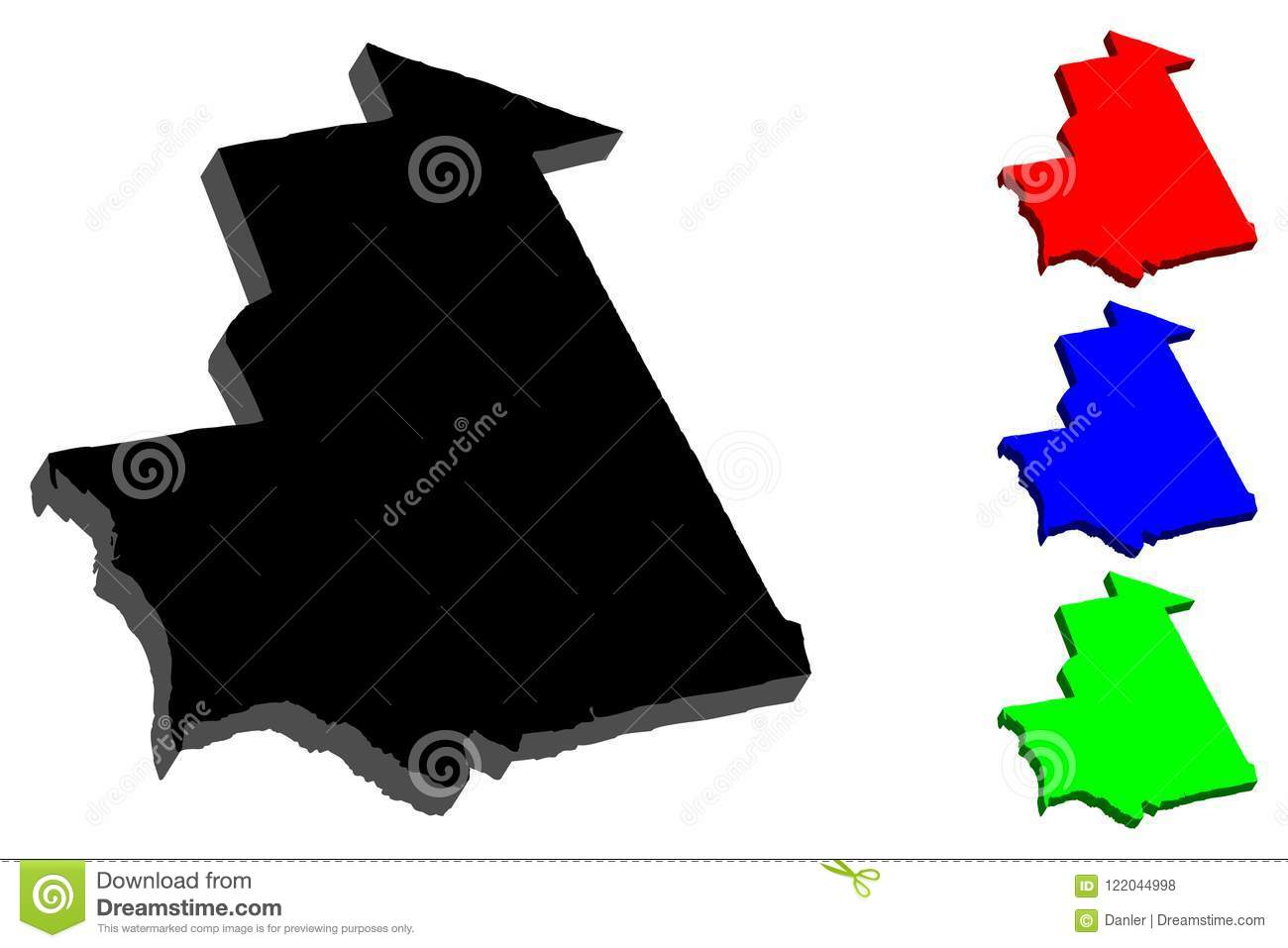 3D map of Mauritania stock vector. Illustration of outline - 122044998