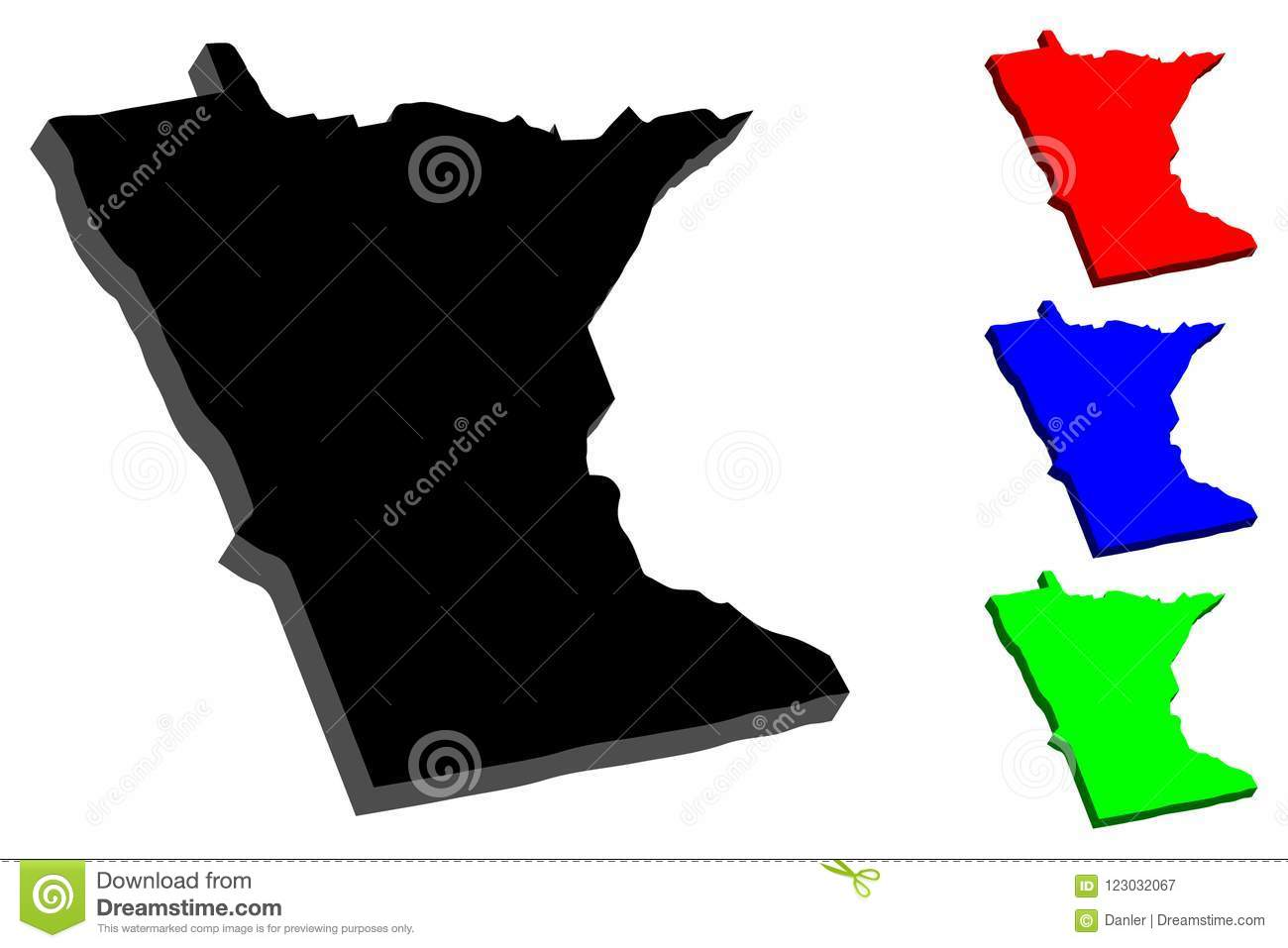 3D map of Minnesota stock vector. Illustration of emblem - 123032067