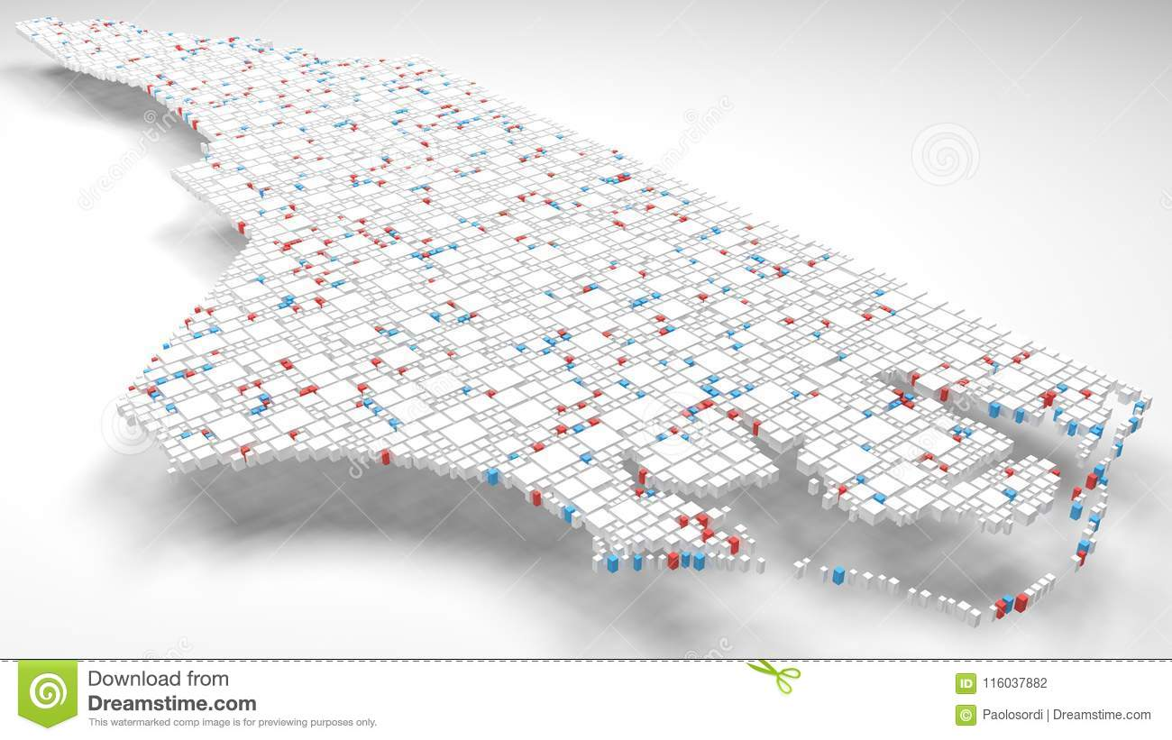 3D Map Of North Carolina - USA Stock Illustration - Illustration of ...