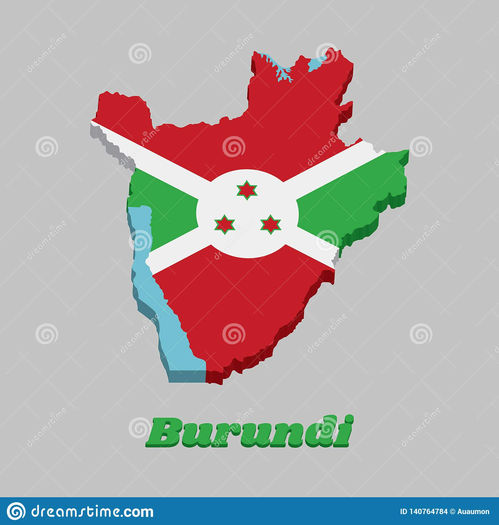 3d Map Outline And Flag Of Burundi A White Diagonal Cross Divided