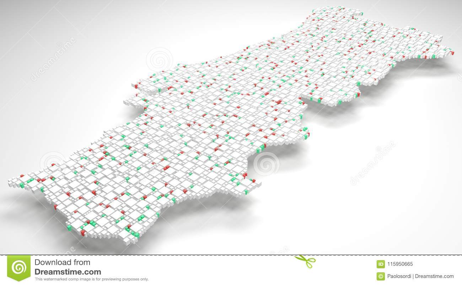 3d Map Of Portugal Europe Stock Illustration Illustration Of