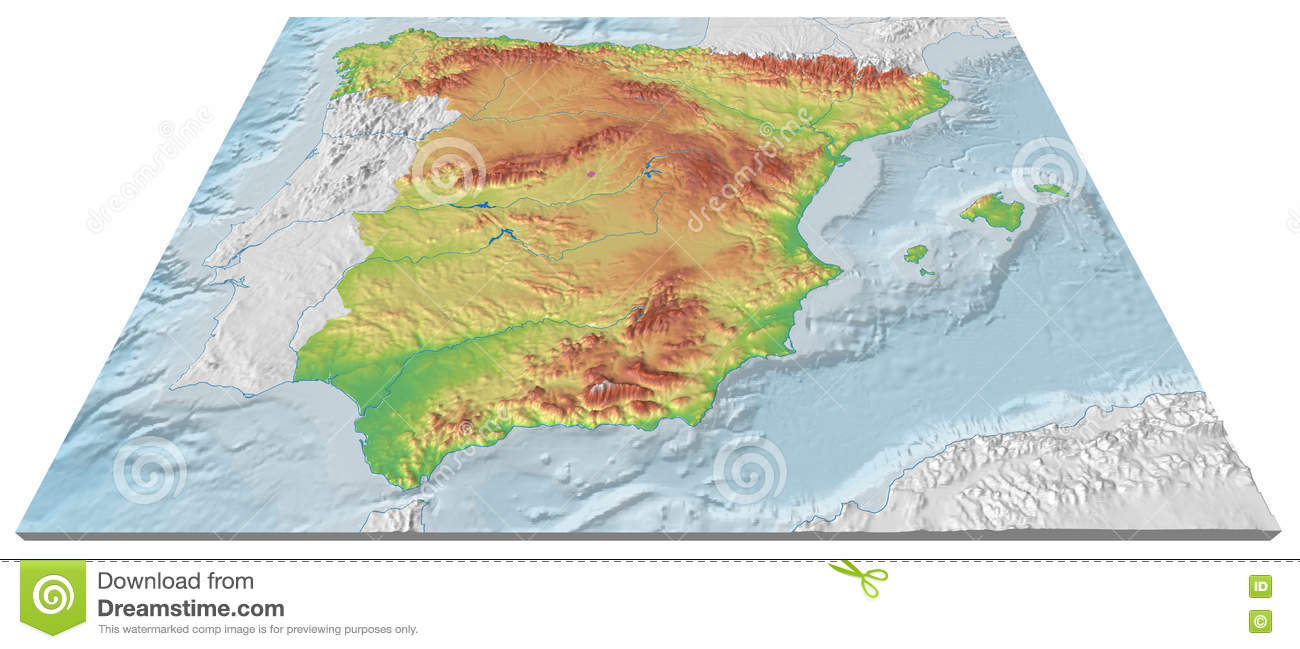 3d Map Of Spain.3d Map Of The Relief Of Spain With Seabed Stock Illustration