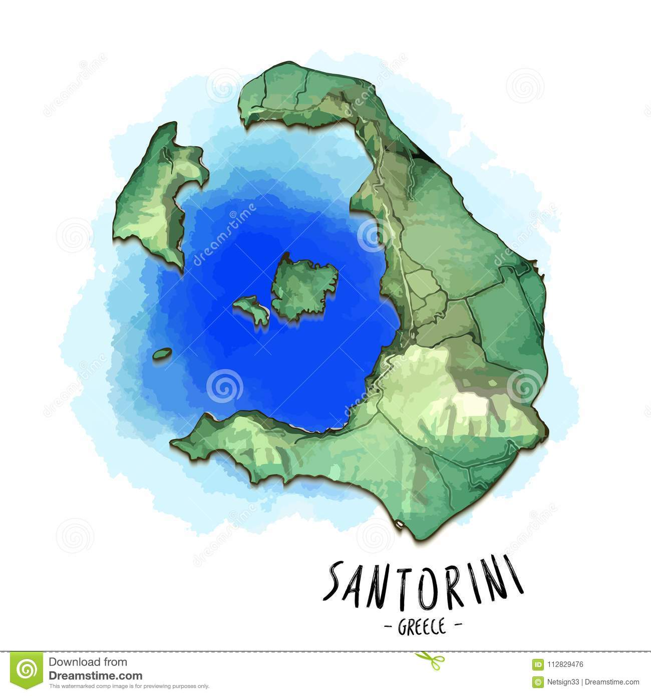 3d Map Of Santorini Stock Vector Illustration Of Cyclades 112829476