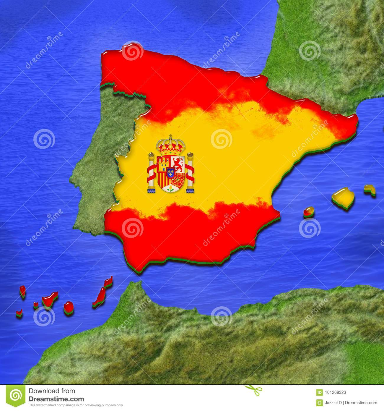 Spanish Map Of Spain.3d Map Of Spain Painted In The Colors Of Spanish Flag Illustration