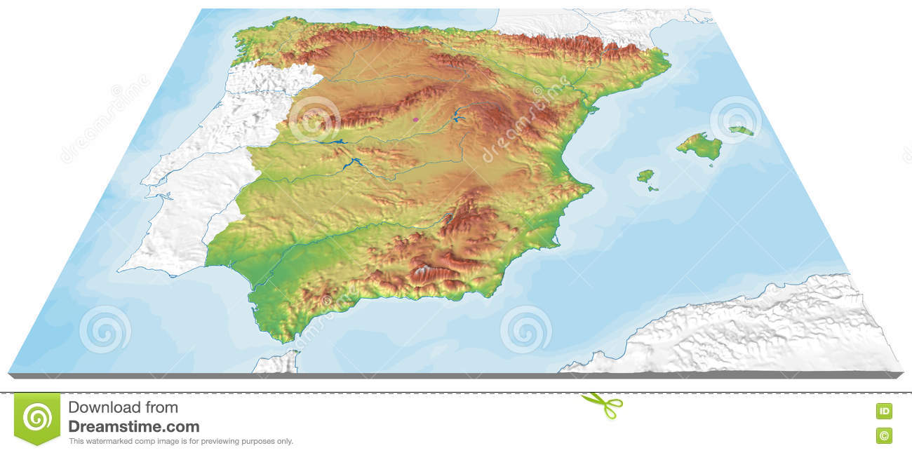 3d Map Of Spain.3d Map Of Spain Relief Stock Illustration Illustration Of Orography