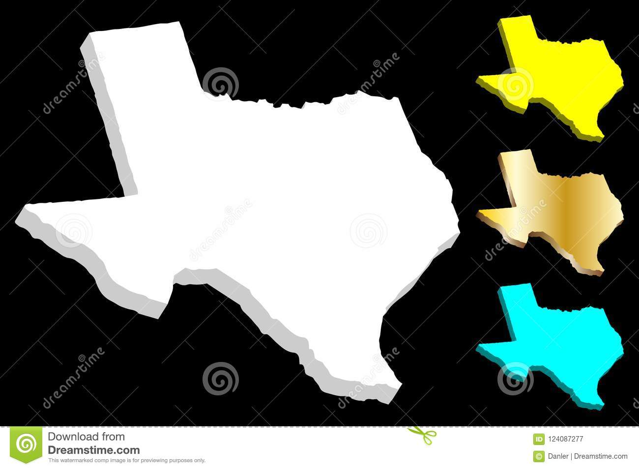 3d Map Of Texas Stock Vector Illustration Of Dimensional 124087277